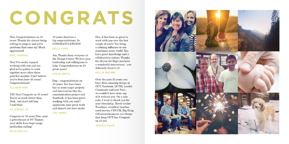 Image of Yearbook's personalised comment and photo pages.