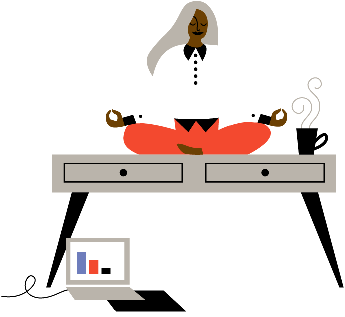 Illustration of a woman sitting cross-legged meditating on a table with her laptop and a cup of coffee