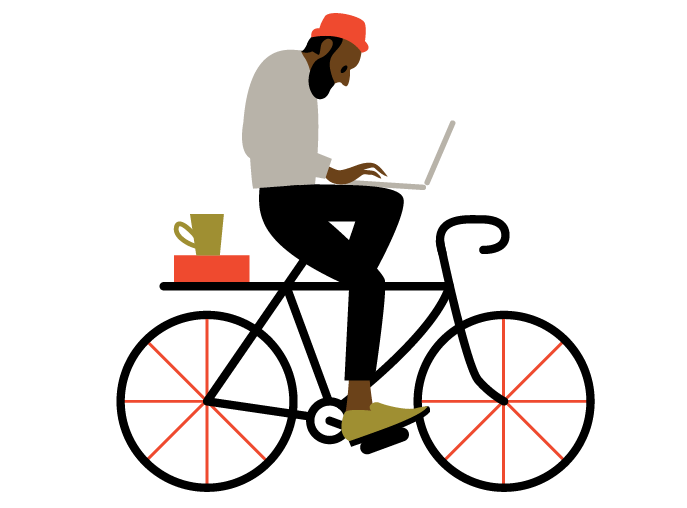 Drawing of a man on a bike using O.C. Tanner's performance recognition software