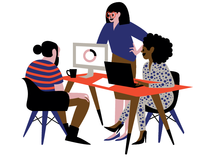 An illustrated team of employees who are focused on developing workplace culture | O.C. Tanner