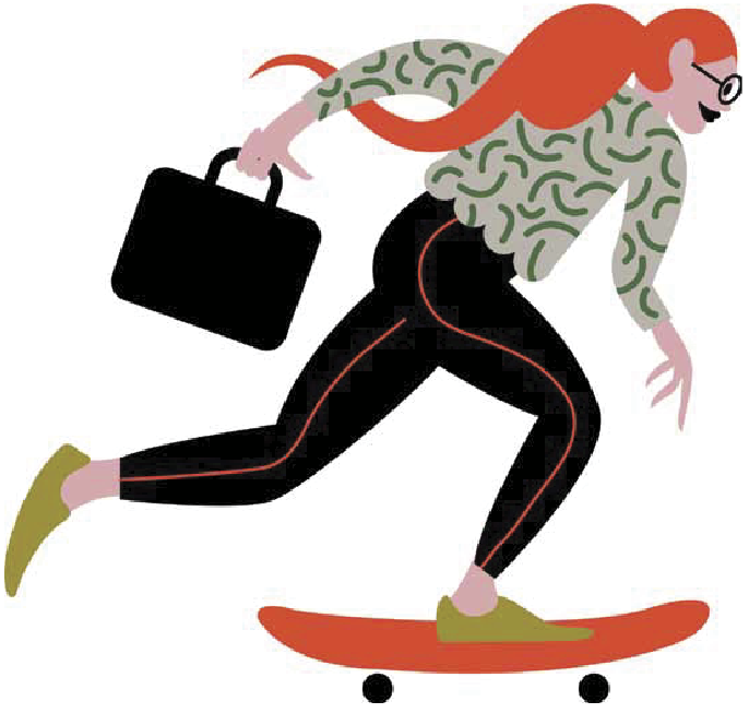 A drawing of a women skateboarding to her workplace, which uses O.C. Tanner's employee recognition tools