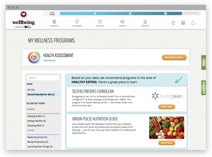 Screenshot of O.C. Tanner's Wellbeing dashboard for employee wellness